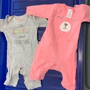2 newborn bodysuits